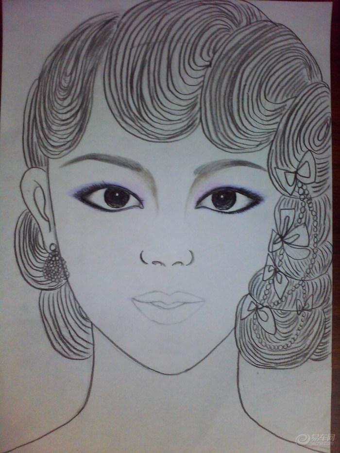 步骤十九:用黑色彩铅画眼线
