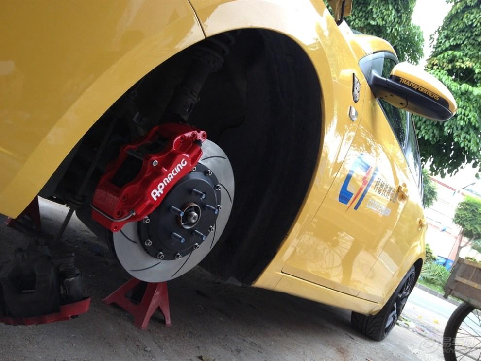 刹车改装 雨燕AP5200红色 线碟装车图片高清图片
