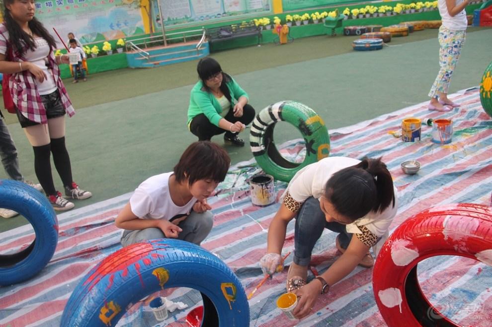 原创首发】幼儿园体育游戏妙用废旧轮胎】