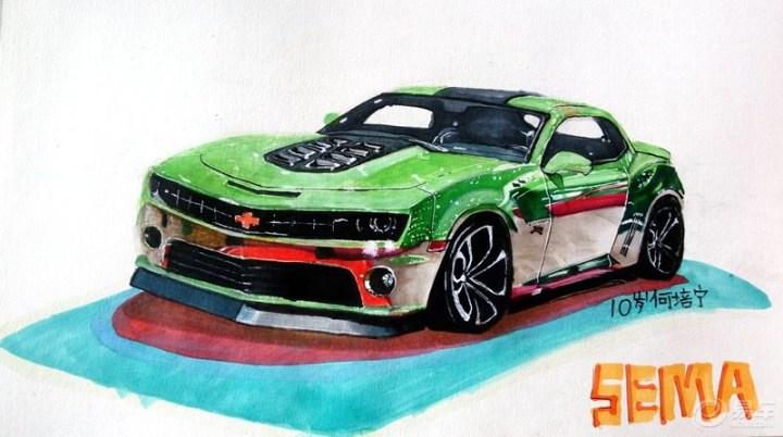 【何培宁画廊】马克笔手绘美国sema改装车雪佛兰-老款科迈罗